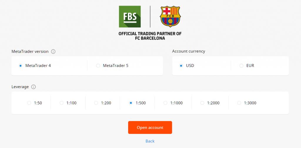 FBS metatrader, base currency and legerage