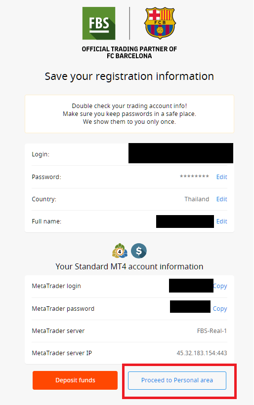 FBS confirm registration information