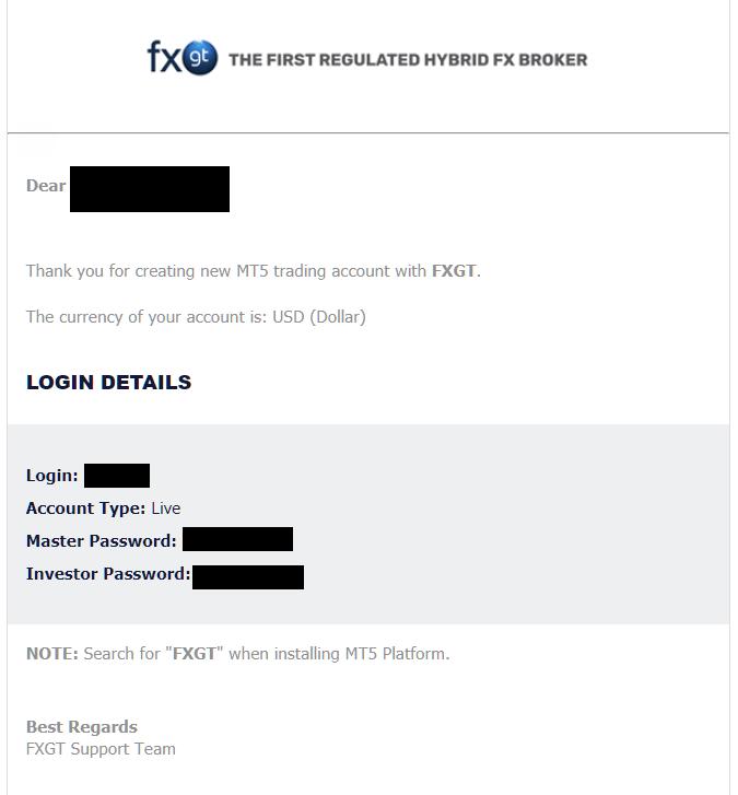 FXGT MT5 account login details