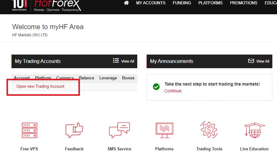HotForex open a trading account