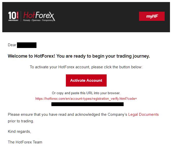 HotForex activate account