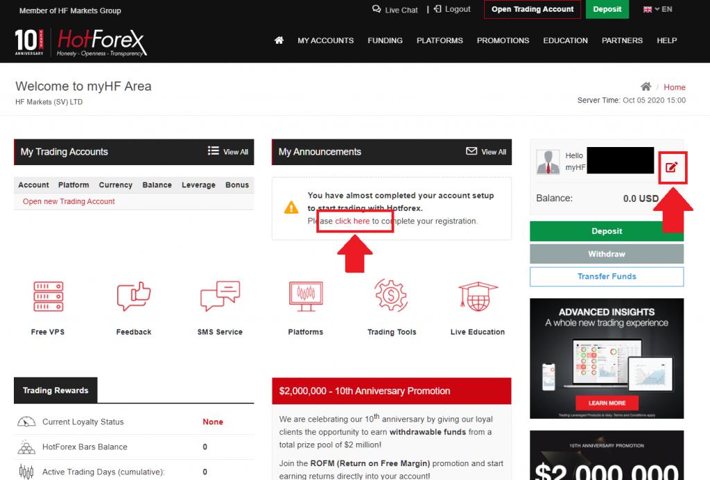 HotForex continue registration