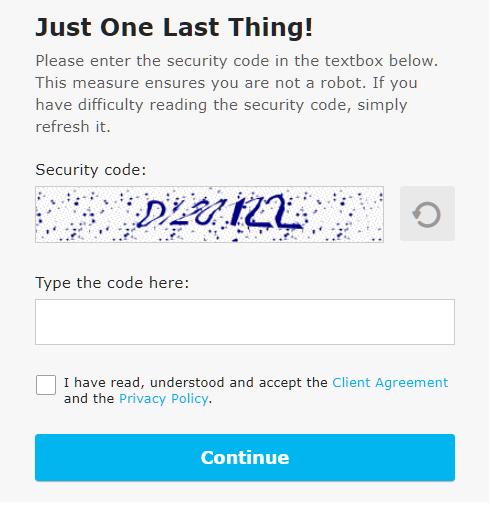 iFOREX enter security code