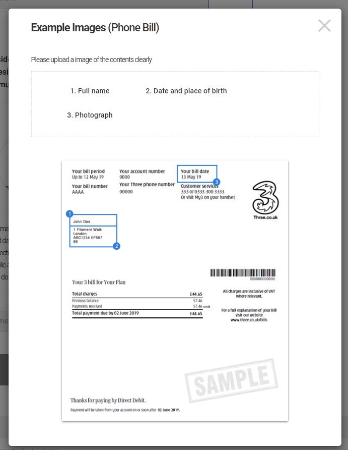 LAND-FX upload POA document (phone bill)