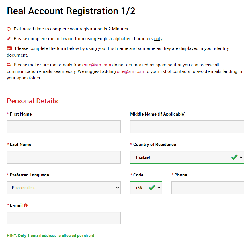 XM real account registration