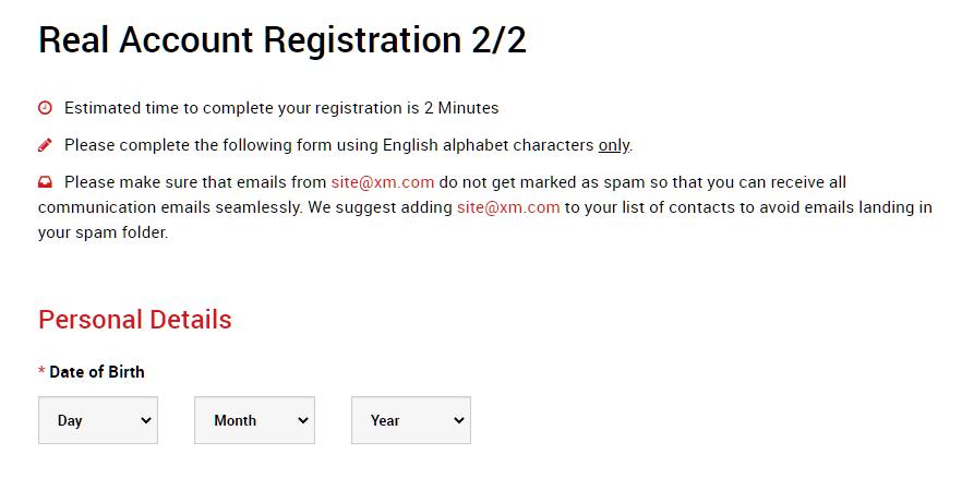XM real account registration 2