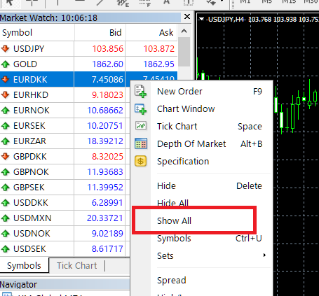 Add Axiory stock CFD on MT4 (PC)