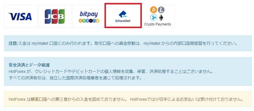 HotForex bitwallet入金