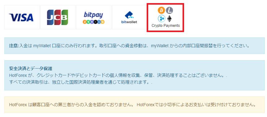 HotForex仮想通貨入金