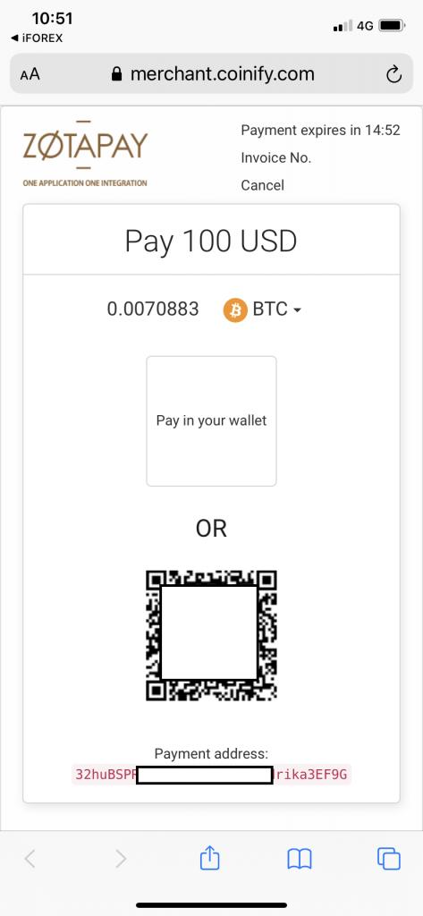 deposit on iforex app (bitcoin address)