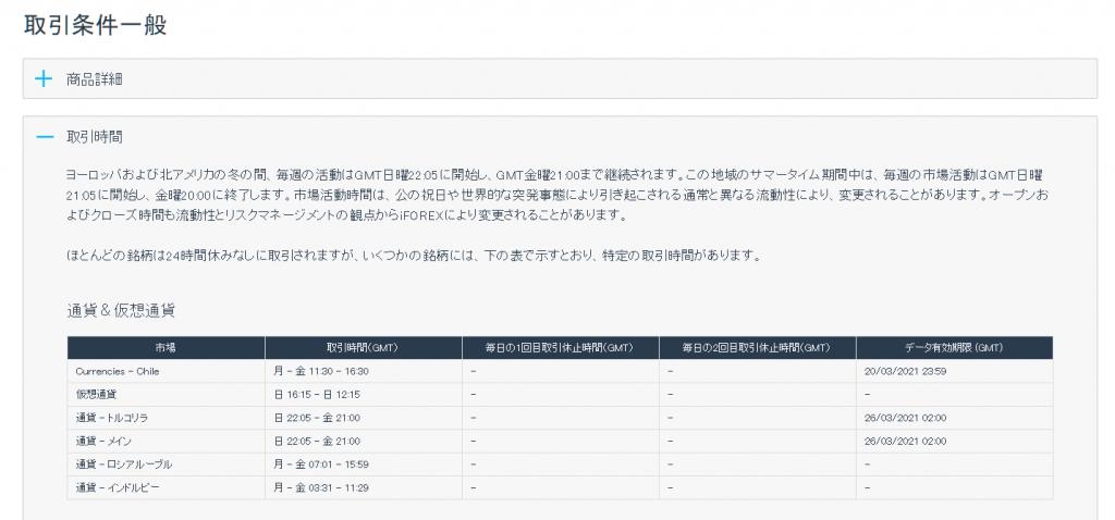 iForex取引時間(通貨ペア)