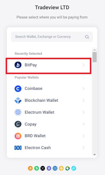Tradeview bitpay入金、bitpayを選択