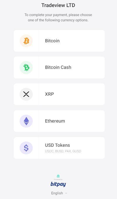 Tradeview bitpay入金、仮想通貨を選択