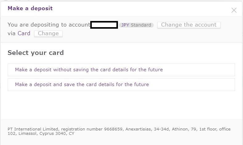 Axiory credit card deposit, select card