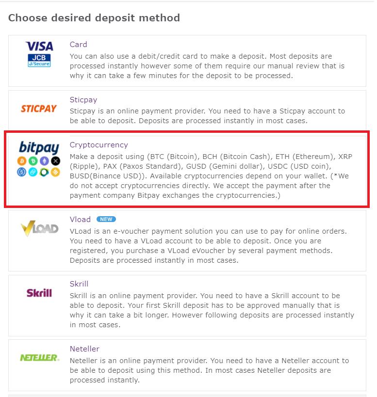 Axiory bitpay deposit