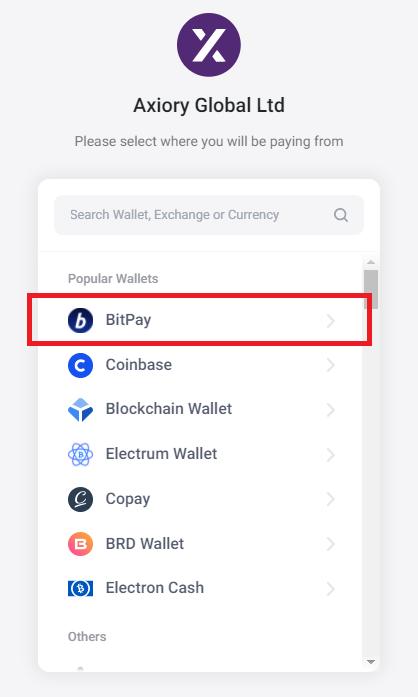 Axiory bitpay deposit, select bitpay