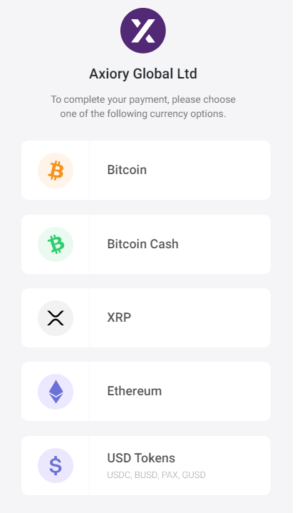 Axiory bitpay deposit, select crypto