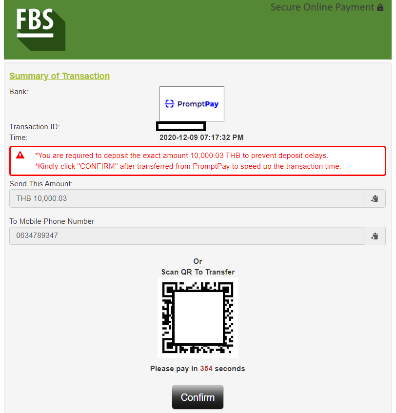 fbs online banking (QR code payment)