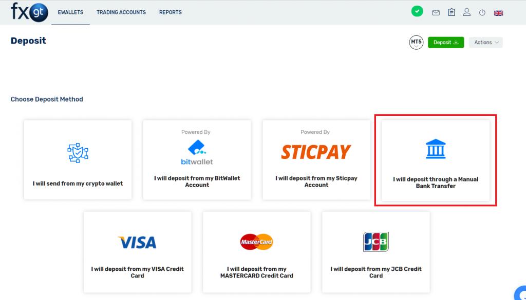 fxgt deposit by bank transfer