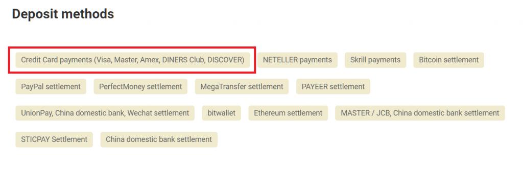 gemforex deposit by credit card