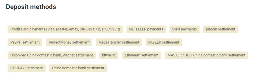 gemforex deposit methods list