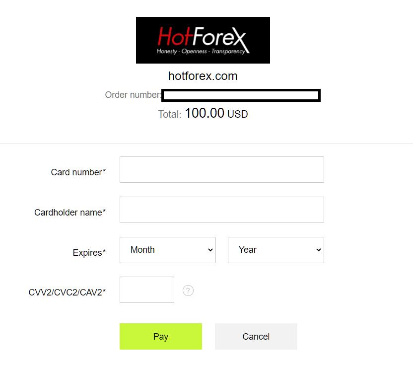 hotforex credit card deposit input card information