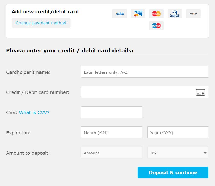 iFOREX credit card deposit, enter card information