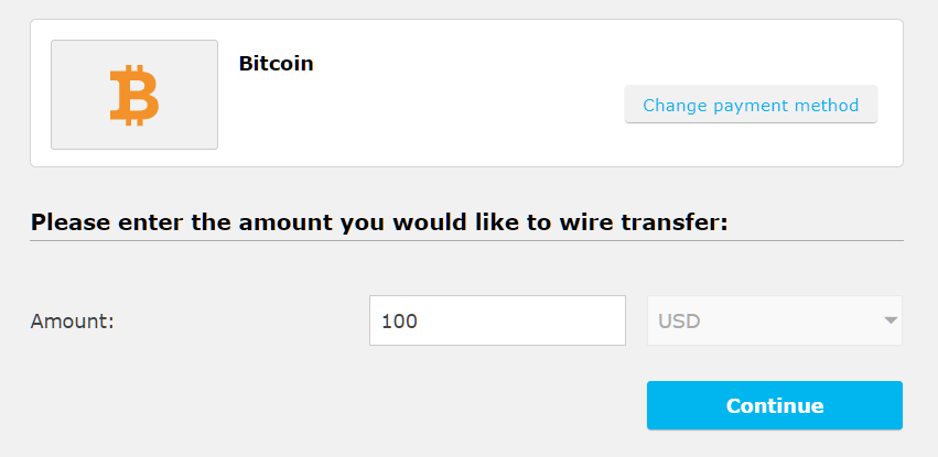 iFOREX bitcoin deposit, enter amount