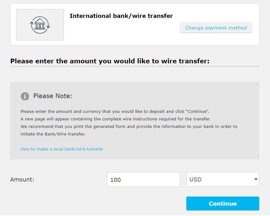 iFOREX international bank deposit, enter amount