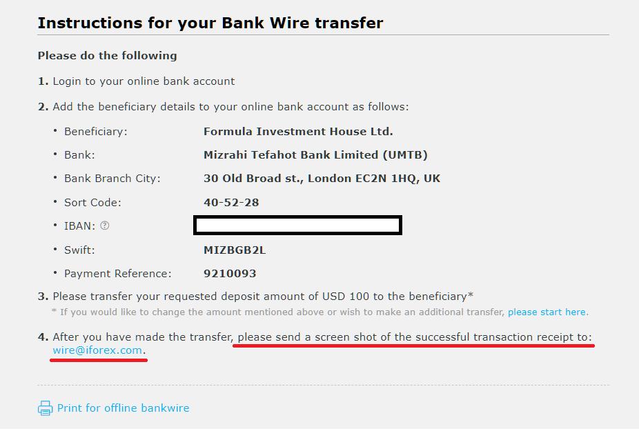 iFOREX international bank deposit, do payment