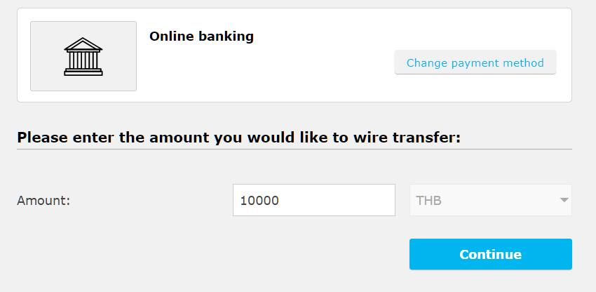 iFOREX domestic bank deposit, enter amount
