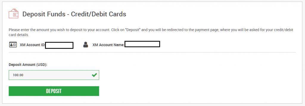 enter the amount for credit card deposit