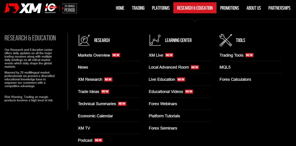 XM グローバルサイトの教育コンテンツ