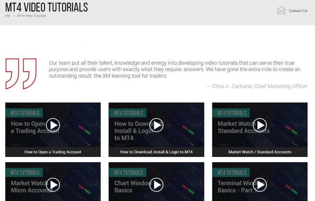 XM MT4 tutorial videos, all contents