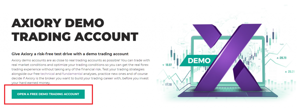Axiory demo account, open a free demo account