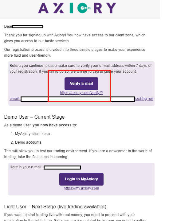 Axiory demo account, verify email address