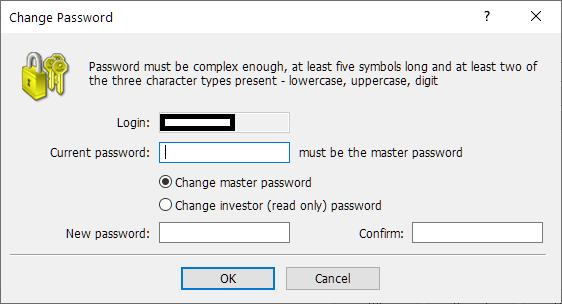 Axiory MT4/MT5, change password