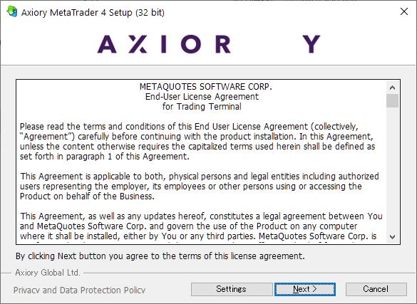 Axiory MT4/MT5, install