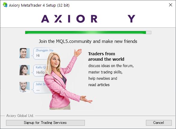 Axiory MT4/MT5, installing