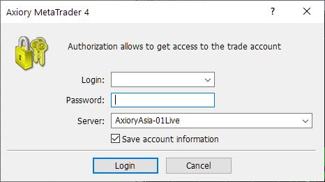 Axiory MT4/MT5, login