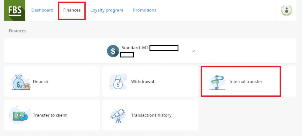fbs multiple account, internal transfer