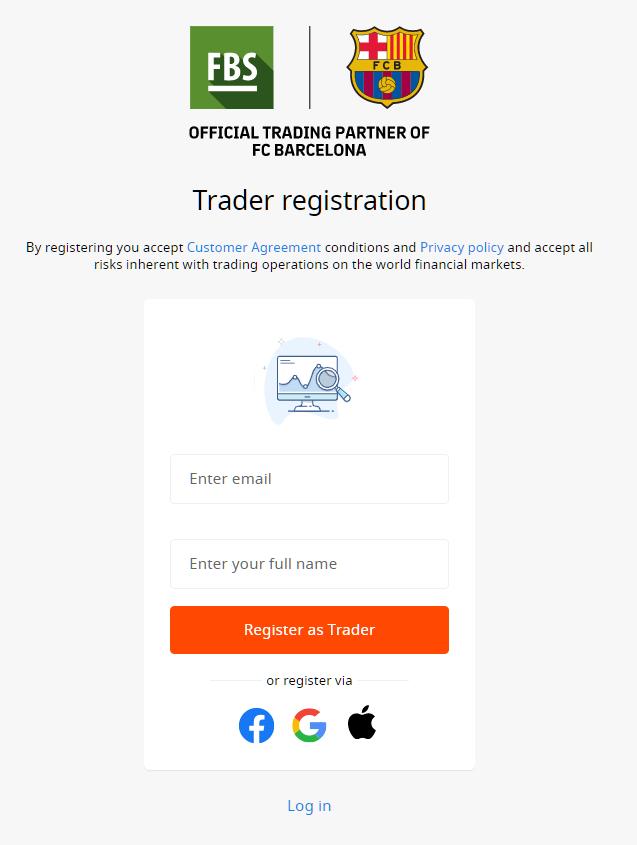 FBS demo account, trader registration