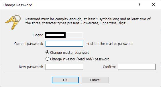 GEMFOREX MT4, change password