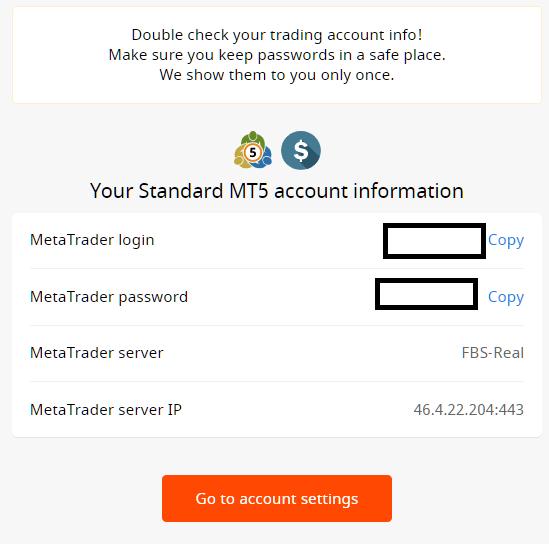 FBS MT4/MT5, new password is generated