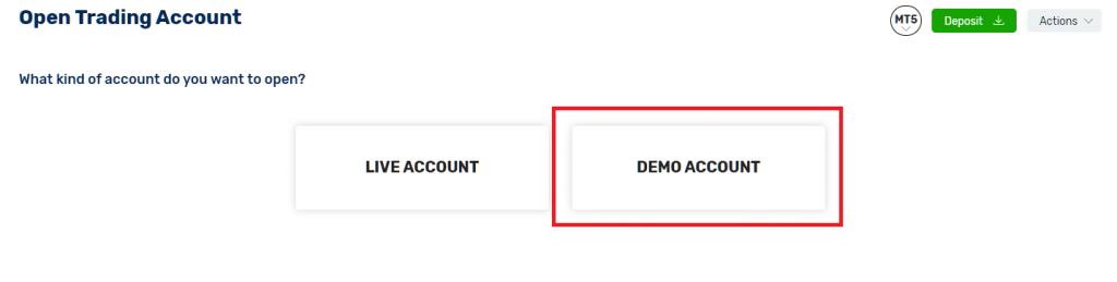 fbs demo account, select demo account