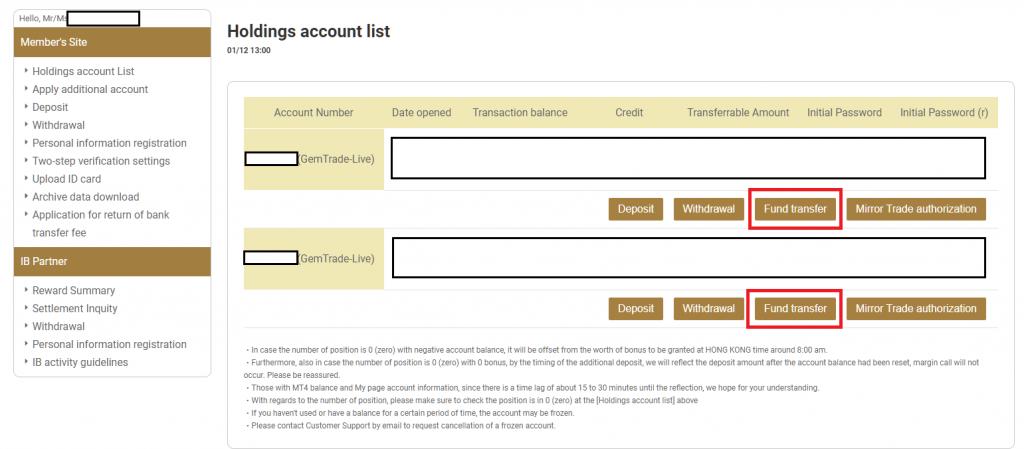 gemforex multiple account, fund transfer
