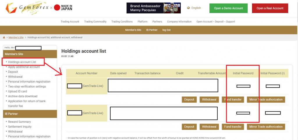 GEMFOREX MT4. check initial password