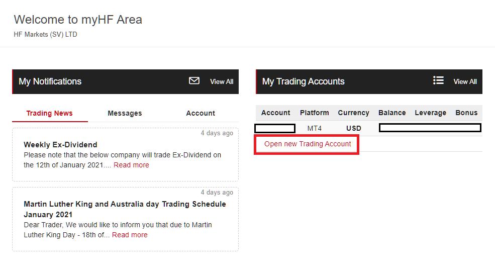 hotforex multiple account, open new account
