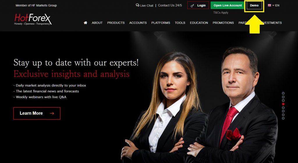 HotForex demo account. click Demo on top page