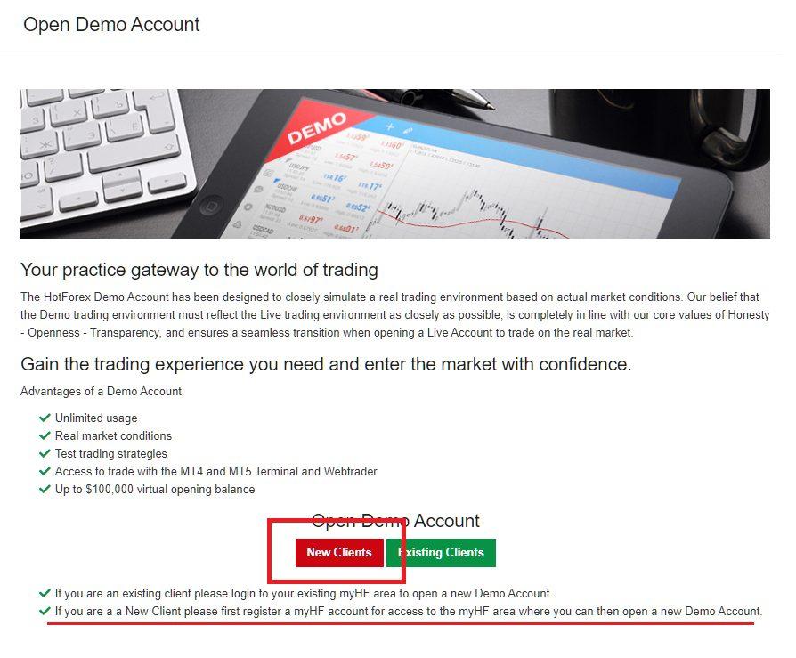 HotForex demo account. open demo account
